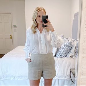 Ann Taylor Split Neck Blouse In White